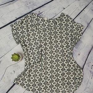 Anthropologie Pleione black/white patterned top XL